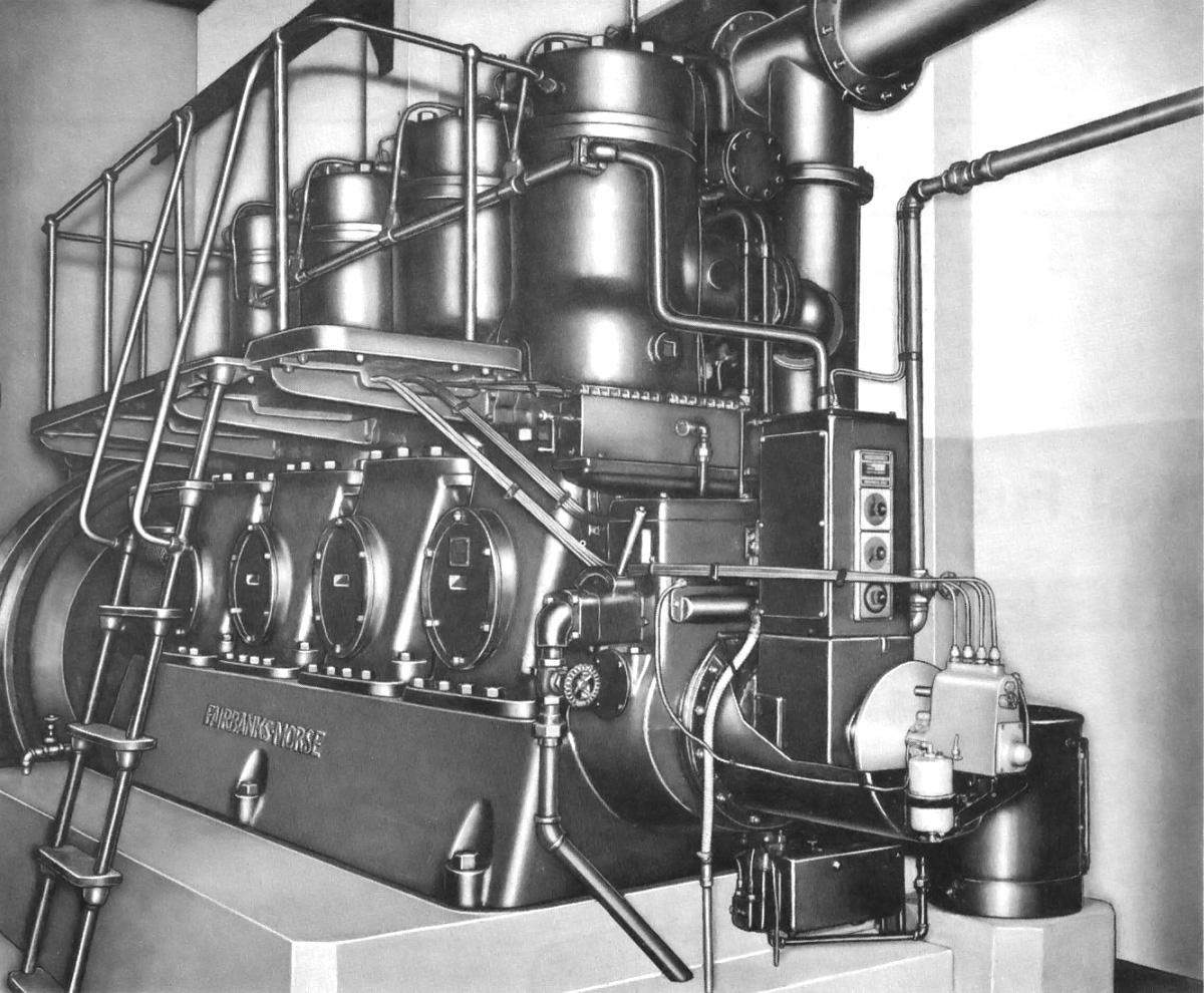 Fairbanks morse model 32 stationary engine old machine press fairbanks morse 32 14 engine malvernweather Choice Image