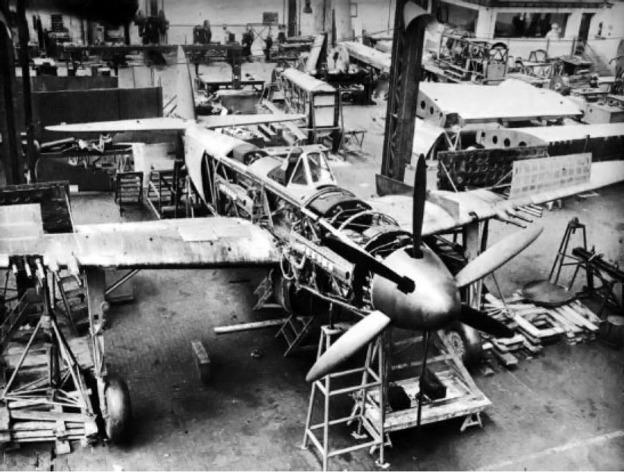 The second prototype VB 10-02 under construction. Note the two 20 mm cannons and three .50-cal machine guns in each wing.