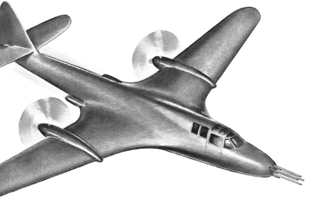 Artwork of the McDonnell Model 1 with a four-gun nose.