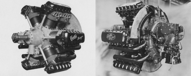 """The Curtiss H-1640 Chieftain """"hexagon"""" or """"inline-radial"""" engine. On the left image, in front of each cylinder pair is the housing for the vertical shaft that drove the overhead camshafts. In the right image, note the baffle at the rear of each exhaust Vee of the engine that forced cooling air into the intake Vee."""