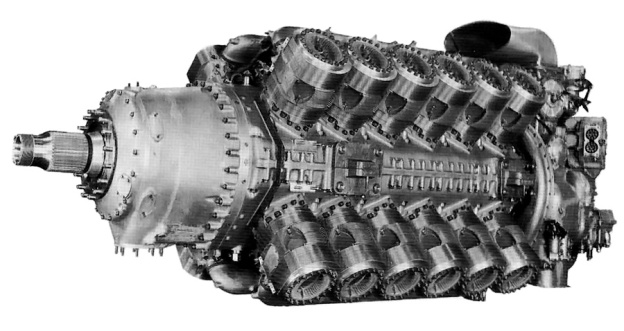 Rolls-Royce Pennine engine shown without any exhaust stacks. The cylinders look very similar to those used by Bristol. The ring of studs around the propeller shaft are where the annular cooling fan would attach.
