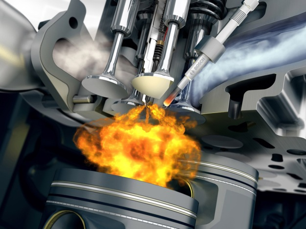 Fuel being burnt as it is injected into a diesel cylinder. (Bosch image)