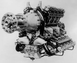The 1,000 hp, 16-cylinder Napier Cub. Below the propeller gear reduction are the two duplex carburetors with an induction pipe leading to each cylinder bank.