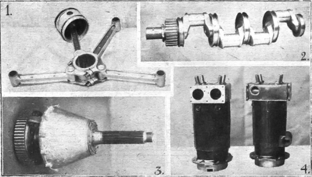 Various parts of the Napier Cub: 1) Connecting rod assembly with one articulated rod attached to the bearing cap. 2) Four-throw crankshaft with roller bearings and spur reduction gear. 3) Propeller shaft with large spur reduction gear. 4) Two of the Cub's cylinders with the valve ports visible on the left cylinder and the water-cooling ports visible on the right cylinder.