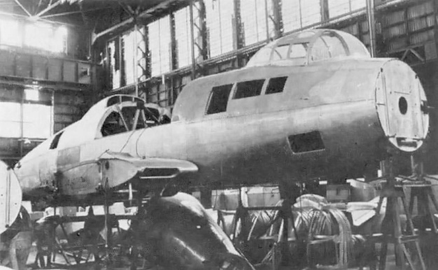 The unfinished second R2Y1 prototype as seen at the end of WWII. Note the wing root and ventral intakes. The hole in the center of the bulkhead in the nose was for the propeller's drive shaft.
