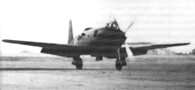 The R2Y1 Keiun undergoing taxi tests in May 1945.
