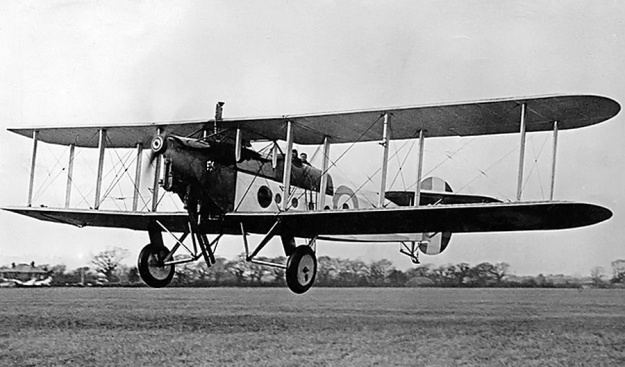 The Beardmore Typhoon-powered Avro 549C Aldershot IV flown by Bert Hinkler during a flight demonstration on 24 January 1927. The inverted engine allows a good view from the cockpit.