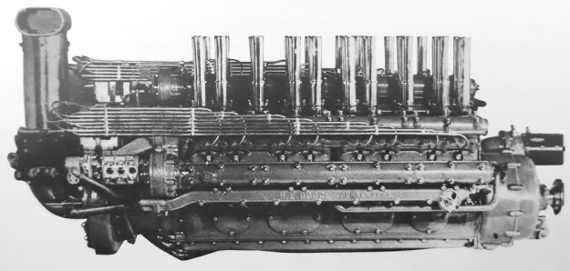 Side view of the J. Paul Miller-developed Duesenberg W-24 engine.