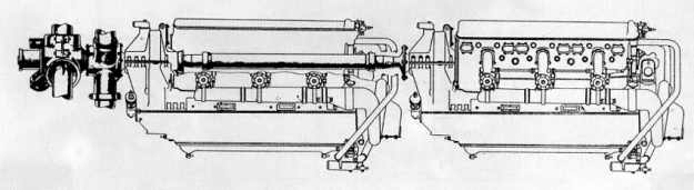 Schematic of the paired Kimlov M-103 engines installed in the Bolkhovitinov Sparka with the rear engine's drive shaft through the Vee of the front engine.