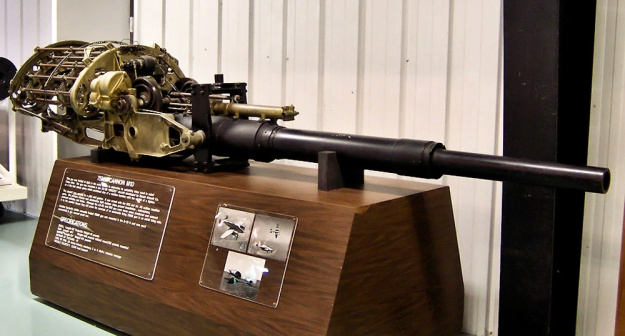 The T15E1 (M10) 75 mm cannon from the XA-38 as displayed in the United States Air Force Armament Museum. (Tom Fey image)