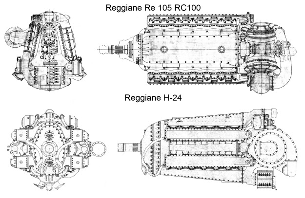 Reggiane Re 105 RC100 and H-24