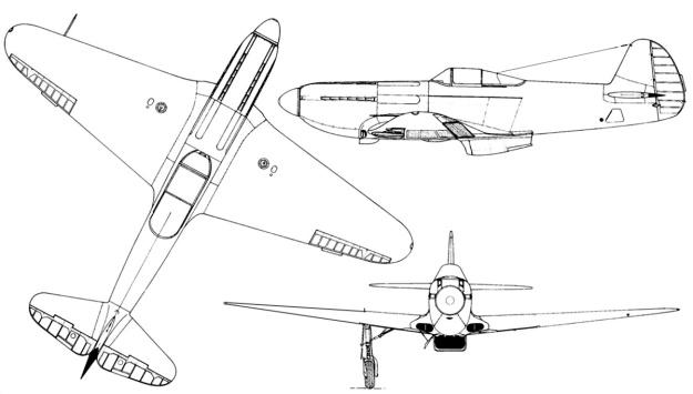Yak-3 VK-108 3-view