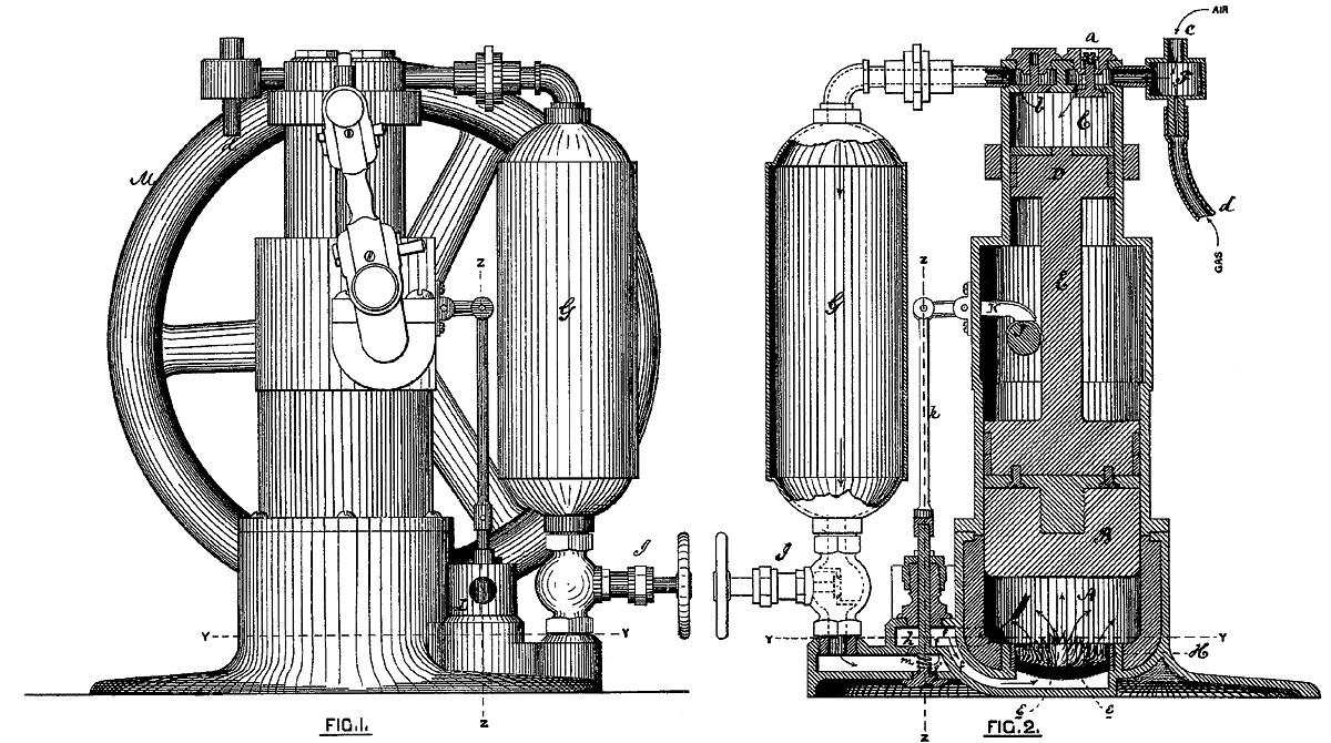 Brayton Ready Motor Hydrocarbon Engine Old Machine Press Steam Piston Diagram 1872 Patent