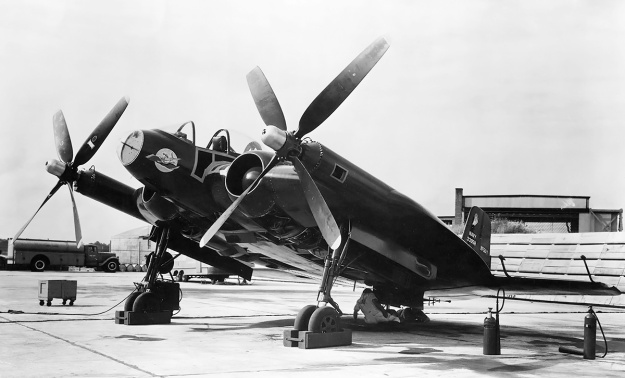 Vought XF5U with F4U-4 propellers