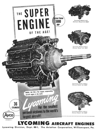Lycoming XR-7755 ad Dec 1946