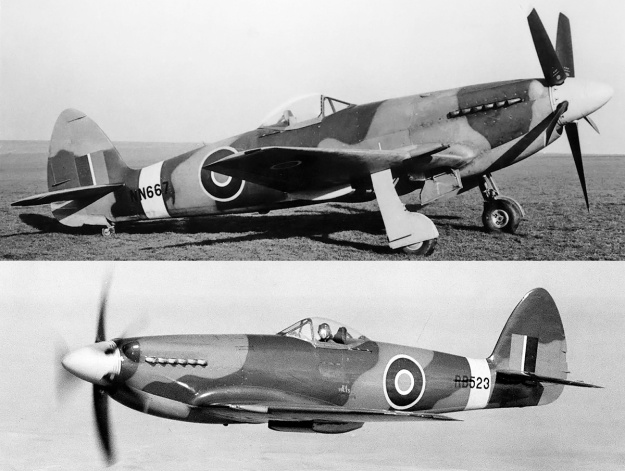 Supermarine Spiteful NN667 and RB523 long scoop