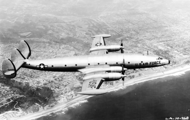 Lockheed-1249-YC-121F-131660-over-Pacific-Palisades